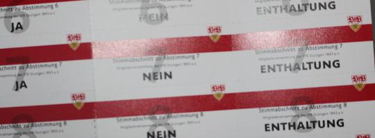 Stimmkarten zur VfB-Mitgliederversammlung 2017